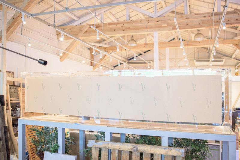 3メートル水槽の設置(養生中)