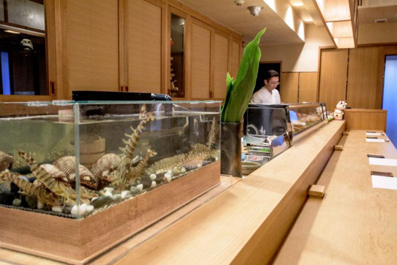カウンターの生簀水槽 寿司屋さん